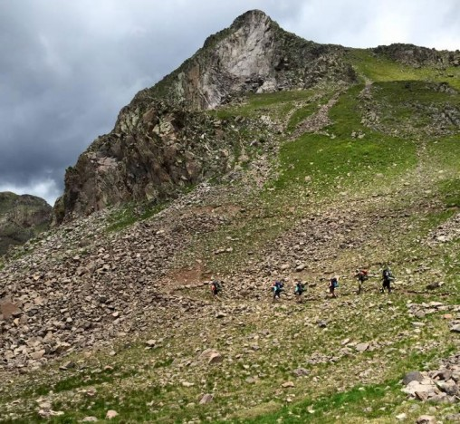 Hikers traveled through switchbacks up a mountain