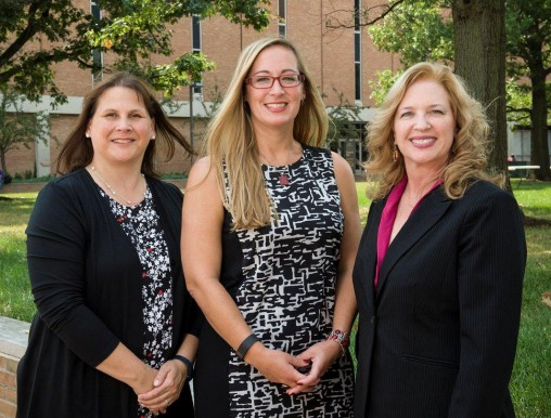 Stephanie Goodwin, Jennie Buckwalter and Jennie Gallimore on campus