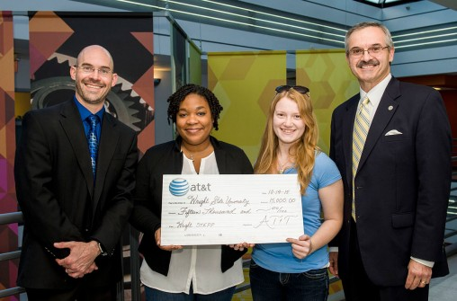 From left: Nathan Klingbeil, dean of the College of Engineering and Computer Science; Wright STEPP graduate and current Wright State students Kamryn Cosby and Mary Farrow and Mark Romito, AT&T Ohio director of external affairs. (Photo by Erin Pence)