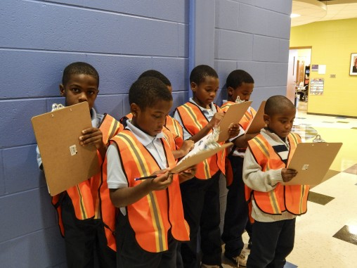 Grade school students taking survey