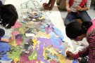 Students at the Dayton Regional STEM School working on an art project.