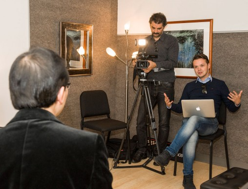 Emir Ibiahimoviç and Haris Bilaloviç interviewed Wright State faculty members, including music professor Jackson Leung, for a Bosnian television program commemorating the 20th anniversary of the Dayton Peace Accords. (Photo by Erin Pence)