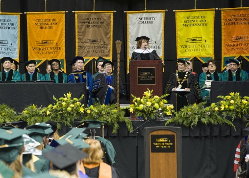 Sharon Honaker Rab '75, founder and co-chair of the Dayton Literary Peace Prize, received an honorary Doctorate of Humane Letters at Wright State's commencement ceremony. (Photo by Chris Snyder)