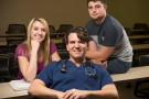 Kayla Crager and Kyle Hazlett, right, both major in biology and will attend medical school together next summer, while Mark Crager is working on his Post-Bac Certificate in Pre-Medical Studies.