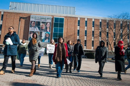 The Jan. 19 march honoring Martin Luther King Jr. began at Millett Hall and featured stops at the Bolinga Black Cultural Resources Center, the Women's Center, University Hall, the Student Union and Dunbar Library. (Photo by Erin Pence)