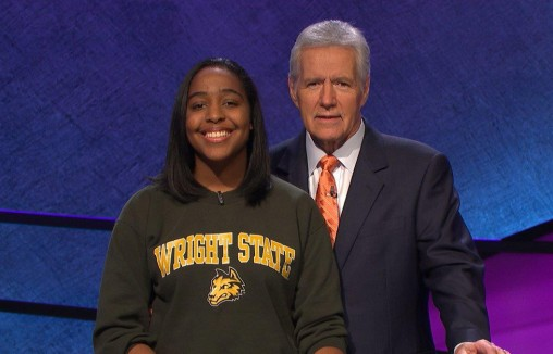 "The Alumni Association will host a watch party on Feb. 2 to cheer on Wright State senior Emily Bingham during the ""Jeopardy! College Championship."" Bingham is pictured on set with host Alex Trebek."