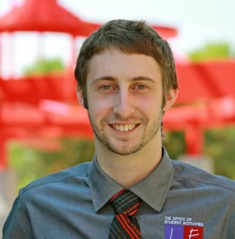 Josh Scacco, graduate assistant in the Office of Lesbian, Gay, Bisexual, Transgender, Queer and Ally Affairs.