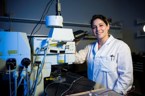 Wright State's Hanna Gabriel '15 manages the new Microscopy Core Facility, housed in the university's Neuroscience Engineering Collaboration Building.