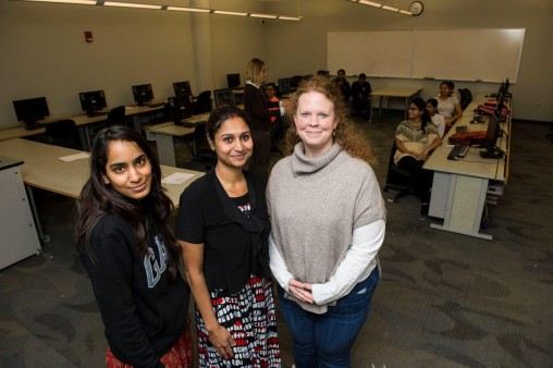 From left, engineering student Viharika Chalasani, module program Director Swapna Nair, and Rachel Gonzales, adviser in computer science and engineering. (Photos by Erin Pence.)