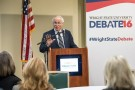 Wright State President David R. Hopkins briefed elected officials and community leaders on the university's presidential debate preparations on Feb. 8. (Photo by Will Jones)