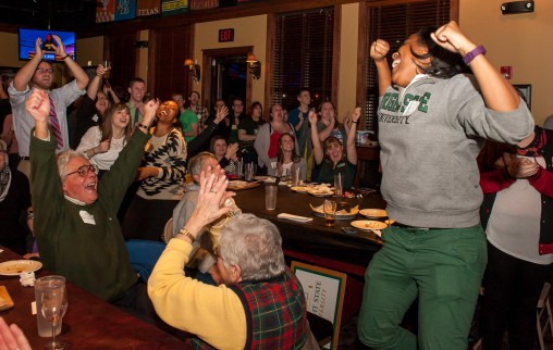 "Wright State senior Emily Bingham and about 200 supporters celebrated at a watch party after Bingham advanced to the semifinals in the ""Jeopardy! College Championship."" (Photos by Erin Pence)"