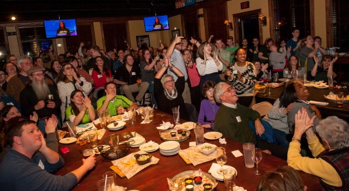 Nearly 200 people attended the watch party, which was sponsored by the Wright State Alumni Association.