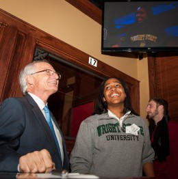 Wright State President David R. Hopkins was among the cheerleaders in the crowd at the watch party.