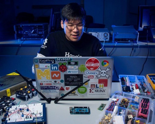 Jeremy Hong works as a lab assistant and consultant for the Department of Electrical Engineering and interns at Wright-Patterson Air Force Base, helping design and verify complex circuit boards.