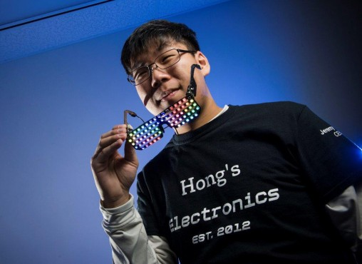 Wright State junior Jeremy Hong turns his interest in electrical engineering into his own electronics company. (Photos by Erin Pence)