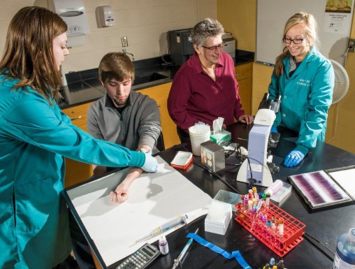 From left: Laboratory science students Carly Simmons, Shon Jergens, program Director Tammy Bash and student Lauren Hamrock. Graduates of the Clinical Laboratory Sciences program are in great demand by employers. (Photo by Erin Pence)