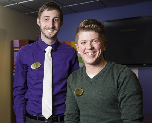 From left: Josh Scacco, the Office of LGBTQA Affairs graduate assistant, and Petey Peterson, the first director of LGBTQA affairs at Wright State. (Photos by Erin Pence)