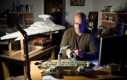 Wright State motion pictures graduate and local news videographer Lee Furry has turned his interest in Star Wars models into a thriving business. (Photos by Will Jones)