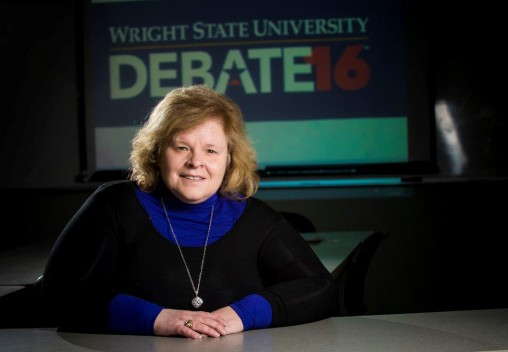 A communication class, led by professor Melissa Spirek, will monitor how the public discusses the presidential debate at Wright State on Sept. 26 on Twitter. (Photo by Erin Pence)