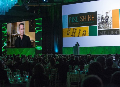As national co-chair of the Rise. Shine. campaign, Tom Hanks talked about the importance of a Wright State education in a video prepared for the public launch of the campaign. (Photo by Will Jones)