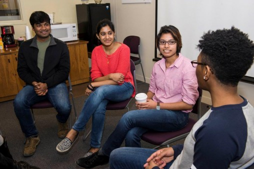 From left: International students like Avinash Vuppala, Srujana Subba, Arony Muhit and Tiffinie Snowden are excited to participate in presidential debate-related activities organized by Wright State's University Center for International Education. (Photos by Erin Pence)