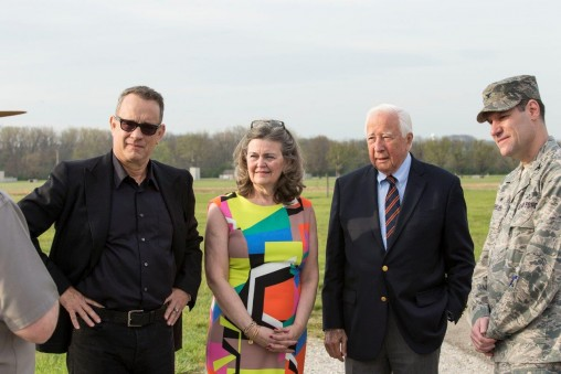 Tom Hanks at Huffman Prairie with, from left, Amanda Wright Lane, David McCullough and Col. John Devillier, commander of Wright-Patterson Air Force Base. (Photo by Will Jones)