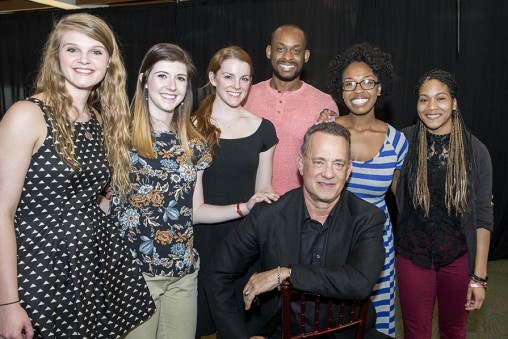 During his visit to Wright State, Tom Hanks met with Hanks Scholarship recipients, from left: Rachel Lann, Scotti Stoneburner, Bailey Rose, Law Dunford, Jasmine Easler and Esha Ford. (Photo by Will Jones)