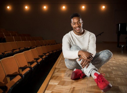 As a freshman, Alimamy Barrie would sneak into classes to watch because he loved dance. Now, he is a senior graduating with a bachelor's degree in dance and pre-pharmacy. (Photo by Erin Pence)