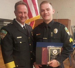 Wright State Police Sgt. Chad Oleyar, right, with Chief of Police David Finnie at the Knights of Columbus Blue Coat Awards ceremony.