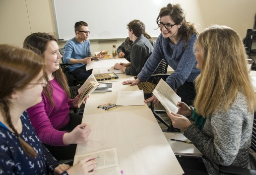 Crystal B. Lake, associate professor of English language and literatures, asks her students to create something inspired by readings examining the role of weather in literature in a new course, Great Books and Bad Weather. (Photos by Erin Pence)