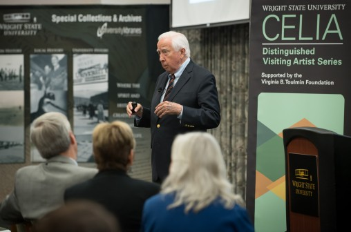 Pulitzer Prize-winning author David McCullough discussed the Wright brothers' legacy during a master class at Wright State April 19. McCullough's visit to Dayton coincided with Tom Hanks' visit to dedicate the Tom Hanks Center for Motion Pictures. (Photo by Erin Pence)