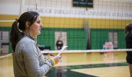 Volleyball coach Susan Clements, who comes from a coaching family, has coached volleyball for 11 years, including five years at Wright State. (Photos by Erin Pence)