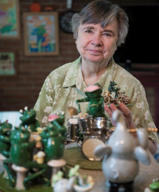 Wright State alumna Janice Hester launched a successful business making grinning, bug-eyed ceramic frogs. (Photos by Will Jones)