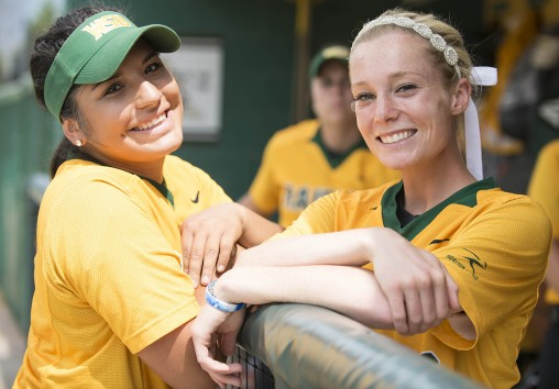 Katie Neary redshirted her first year on the softball team to focus on rehabbing and being a great teammate to players like catcher Vivi Marquez.