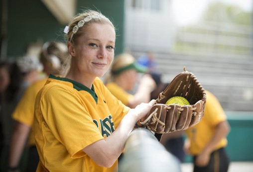 Pitcher Katie Neary overcame a severe injury that left her unable to walk to join the Wright State softball team. (Photos by Will Jones)