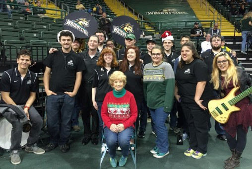 Vera Winchek with the Wright State Pep Band. (Contributed photo)