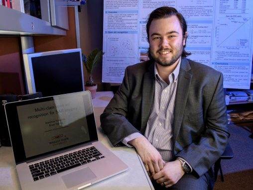 Matthew Scherreik, who is pursuing a Ph.D. in electrical engineering, won the Lockheed Martin Best Student Paper award for the third year in a row. (Photo by Erin Pence)