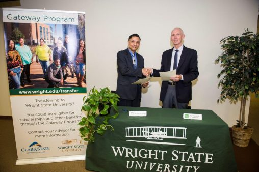 Wright State Provost Thomas Sudkamp (right) and Amit B. Singh, Clark State provost and vice president of academic affairs. (Photo by Will Jones)