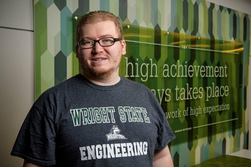 On the heels of getting his GED, Nickolas Hayden is flourishing as a computer engineering and philosophy major at Wright State. (Photo by Erin Pence)