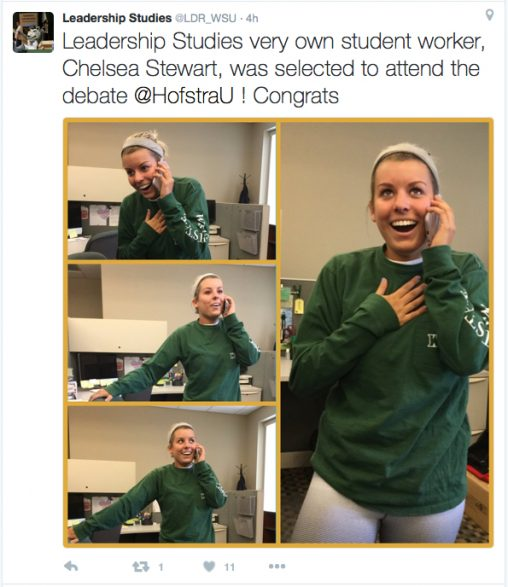 The Department of Leadership Studies shared on Twitter Chelsea Stewart's reaction to learning she had been selected to attend the presidential debate in New York.