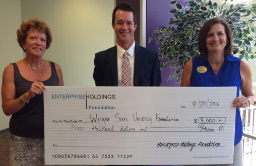 The Enterprise Holdings Foundation presented the Wright State University Foundation with a $3,000 check for workforce development initiatives. Pictured from left: Sara Woodhull, director of major gifts for the College of Liberal Arts; Jake Osborne, talent acquisition specialist for Enterprise Holdings; and Mary Jean Henry, director of foundation and corporate relations.