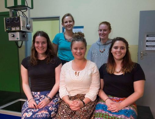 Wright State engineering students installed an X-ray room at a hospital in Malawi. The students included from left, front row: Kaitlyn Danner, Brittanie Koerper and Ashley Mohler; back row: Emily Diller and Olivia Ashworth. (Contributed photo)