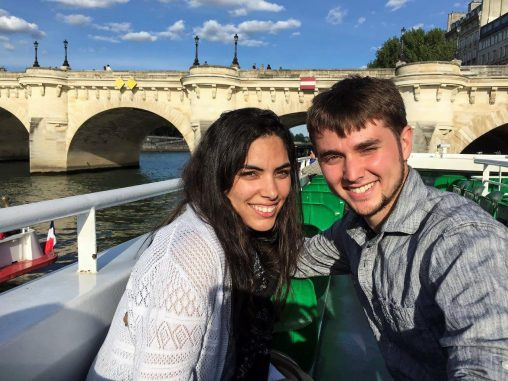 Sarah Koraym with her husband on a Seine boat tour in Paris. Koraym studied French at Wright State and will begin medical school in London this fall. (Contributed photo)