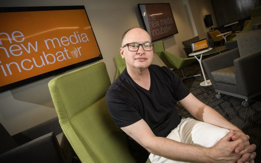 Will Davis, instructor in the Department of Communication, and the New Media Incubator will host an open house at 015 Dunbar Library on Sept. 1 from 4 to 6 p.m. (Photos by Erin Pence)