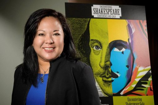 "Carol Mejia LaPerle, associate professor of early modern literature, is  organizing the ""Encountering Shakespeare"" conference at Wright State on Oct. 20-22. (Photo by Erin Pence)"