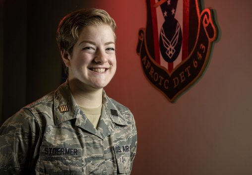 Wright State junior Elizabeth Stoermer grew up with the military being part of her family history and plans to continue the legacy with the Air Force. (Photo by Erin Pence)