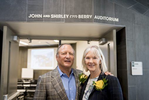 In appreciation of the Berrys' gift toward student success initiatives, Wright State named the 220-seat auditorium in the Student Success Center the John and Shirley ('77) Berry Auditorium. (Photos by Will Jones)