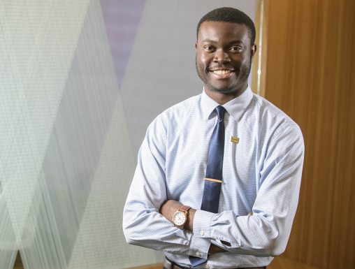 Graduate student Dubem Obianagha came to Wright State from the African nation of Nigeria to pursue a dream of becoming a doctor. (Photo by Erin Pence)