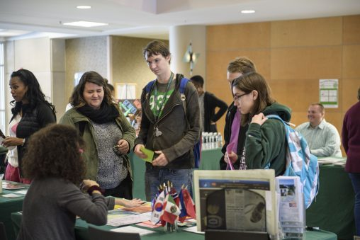 Scores of students picked their way among the information tables at the Major and Career Exploration Expo organized by the Center for Liberal Arts Student Success.