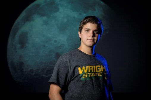 Eric Harris, a freshman electrical engineering major at Wright State, photographs the moon almost every night and plans to capture images of every full moon for the next 16 years. (Photo by Erin Pence)